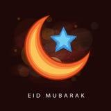 Shiny moon and star for Eid festival celebration. Stock Image