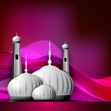 Shiny Mosque or Masjid. On beautiful shiny pink background. EPS 10 Royalty Free Stock Photos