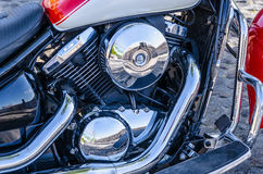 Shiny motorcicle engine. Close up view of a shiny motorcycle engine royalty free stock photo