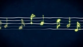 Shiny music notes on wavy sheet, instrumental background, abstract illustration. Stock footage Stock Images