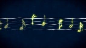 Shiny music notes on wavy sheet, instrumental background, abstract illustration. Stock footage Royalty Free Stock Photo