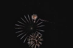 Shiny natural fireworks. On dark sky background like circle Royalty Free Stock Photography