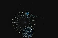 Shiny natural fireworks like bike wheel. Shiny natural fireworks on dark sky like bike wheel Stock Photography