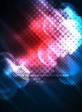 Shiny neon glowing circles, dot particles structure. Vector digital technology abstract background, backdrop for techno presentation or web banner template Stock Illustration