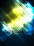 Shiny neon glowing circles, dot particles structure. Vector digital technology abstract background, backdrop for techno presentation or web banner template Stock Photography