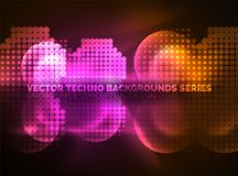 Shiny neon glowing circles, dot particles structure. Vector digital technology abstract background, backdrop for techno presentation or web banner template Royalty Free Stock Image