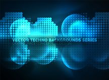 Shiny neon glowing circles, dot particles structure. Vector digital technology abstract background, backdrop for techno presentation or web banner template Royalty Free Stock Images
