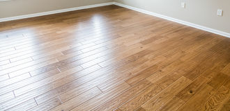Shiny New Hardwood Floor. A shiny, polished hardwood floor in a new home royalty free stock photo