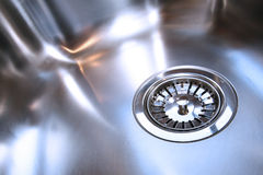 Shiny New Kitchen Sink Drain Stock Image