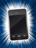 Shiny new smart phone on star burst background Royalty Free Stock Photos