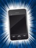 Shiny new smart phone on star burst background. Shiny new smart phone on blue star burst background Royalty Free Stock Photos