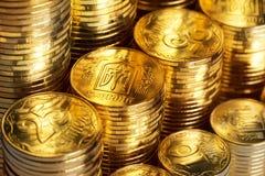 Shiny new ukrainian coins Stock Photo