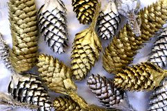 Shiny new year. Golden and silver cones for a new year decoration Royalty Free Stock Image