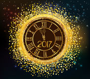 2017 shiny New Year Clock background Royalty Free Stock Photography