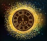 2017 shiny New Year Clock background.  Royalty Free Stock Photography