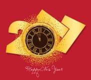 2017 shiny New Year Clock background.  stock illustration