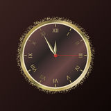Shiny New Year Clock. Vector illustration Royalty Free Stock Image