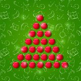 Shiny New Year Tree Composed from Round Balls Royalty Free Stock Photo