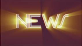 Shiny NEWS word text light rays moving on old vhs tape retro effect tv screen animation background seamless loop - New. Text on old tv interference screen stock footage