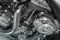 Shiny nickel plated metal mechanism the motorcycle Royalty Free Stock Images
