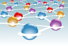 Shiny nodes connected in network system stock illustration