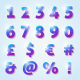 Shiny numbers and letters with diamond texture Stock Photography