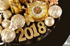 2018 numbers with New Years themed gold decor Royalty Free Stock Photo