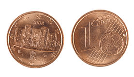 Shiny one Euro cent coin, front and back, isolated. Shiny Italian cent coin, both sides, dated 2008 Royalty Free Stock Images