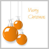 Shiny orange color christmas decoration baubles hanging eps10 Royalty Free Stock Photography