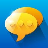 Shiny orange and yellow chat bubble symbols on Royalty Free Stock Image