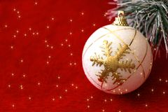 Shiny Ornament in Red Background stock photography