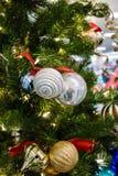 Shiny ornaments on tree Stock Images