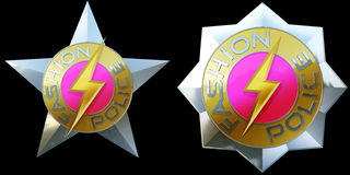 Shiny pair of fashion police badges Royalty Free Stock Photos