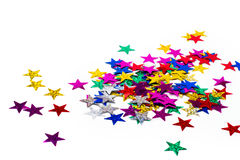 Shiny paper stars. On white background Stock Photo