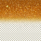 Shiny Particles on Golden background. Confetti Glitters. Vector Festive Illustration of Falling Shiny Particles on Golden background. Sparkling Texture  on Royalty Free Stock Photos