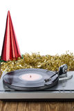 Shiny party hat with record player. On a white background stock image