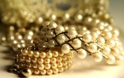 Shiny pearls stock image
