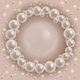 Shiny pearls round frame Royalty Free Stock Photo