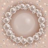 Shiny pearls round frame Royalty Free Stock Photo