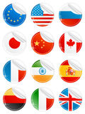 Shiny peeling national icons. Vector illustration of 12 beautiful modern sticky peeling national icons. EU, USA, Russia, Japan, China, Canada, France, India Royalty Free Stock Image