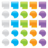 Shiny Peeling Stickers. Set of shiny peeling stickers in various colors and shapes stock illustration