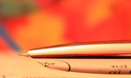 Shiny pen nib. Extreme close up shot made with stacking several images to achieve better focus Stock Image