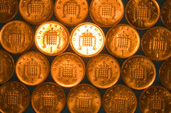 Shiny pennies Stock Photos