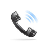 Shiny Phone Icon. Shiny calling phone icon with shadow on white background Stock Images