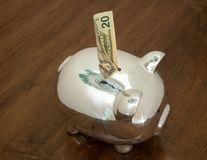 Shiny Piggy Bank Accepting a Fifty Dollar Bill Royalty Free Stock Image