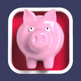 Shiny piggy bank on rounded square background. Application icon Royalty Free Stock Photography