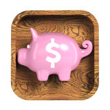 Shiny piggy bank on rounded square background. Application icon Stock Photos