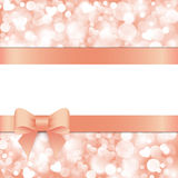 Shiny pink background with bow Stock Photo