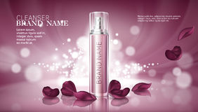 Shiny pink background with moisturizing cosmetic premium products Stock Images
