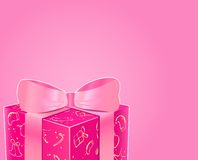 Shiny Pink Gift Box with Bow Royalty Free Stock Photo